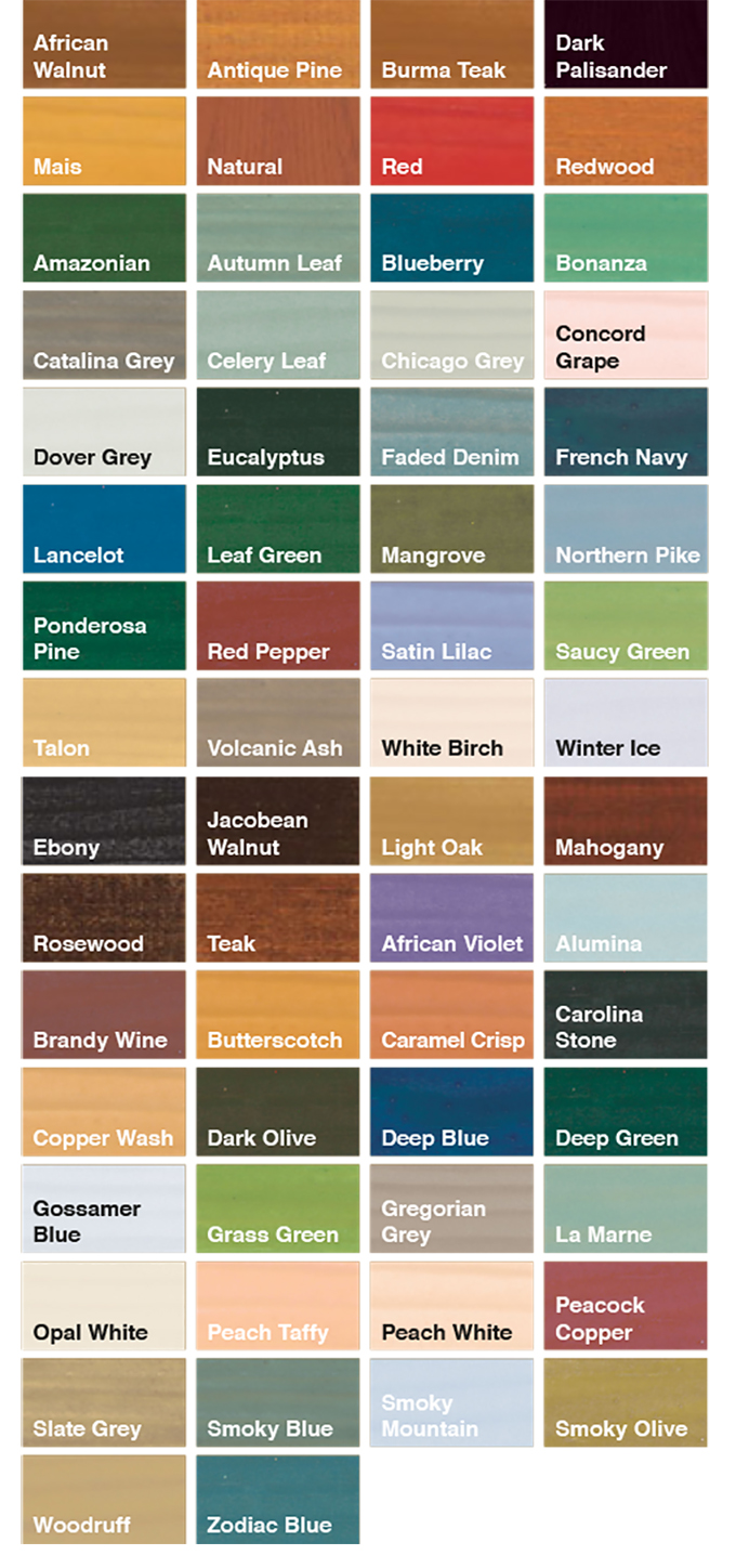 S G Bailey Paints Ltd Sadolin Translucent Colour Chart